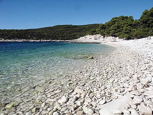 Beautiful pebble beach in Srebrena bay
